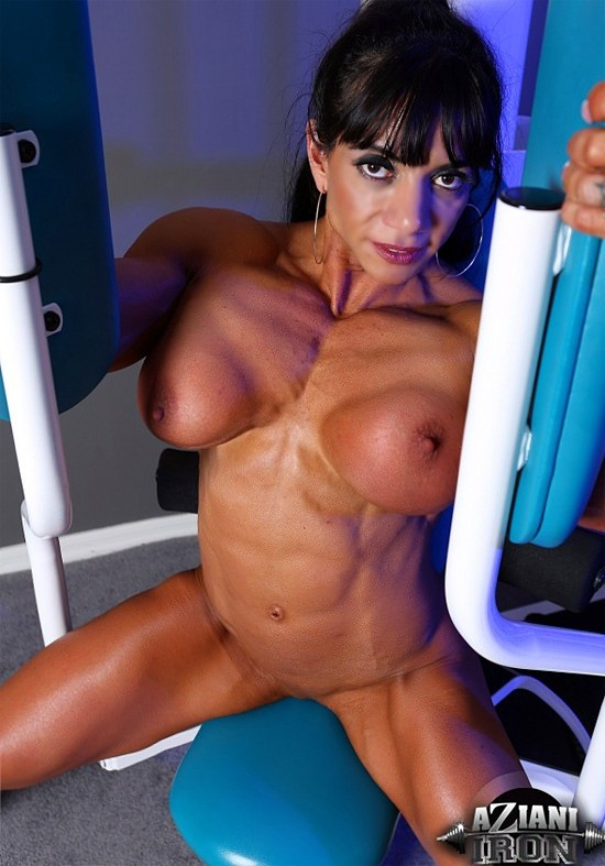 Wet Bodybuilder Marina Lopez Flaunting Huge Tits While Working In Gym Myporn 1