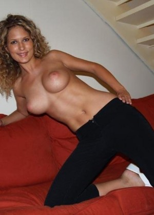 Cindy bare chest on the couch