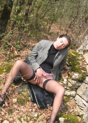 Nice French woman masturbating in the woods