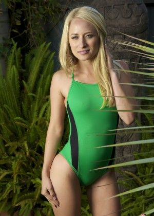 Blonde in a green bathing suit (not naked)