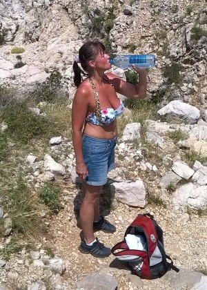 Milf from Croatia sunbathing on the beach