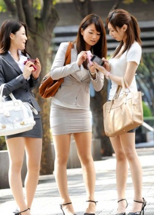 Japanese women in business clothes