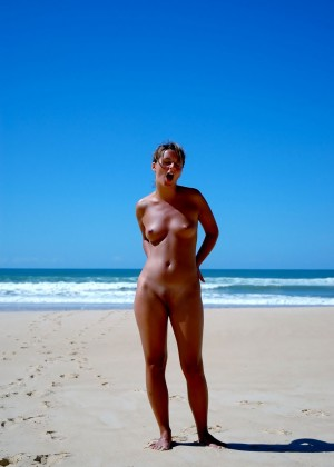 Naked on an empty beach in Venezuela