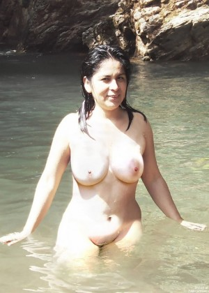 Cute woman from Peru bathes and sleeps in a hotel naked