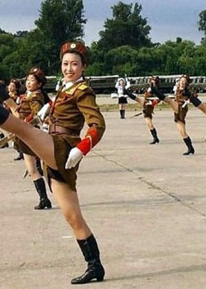 North Korean girls in uniform