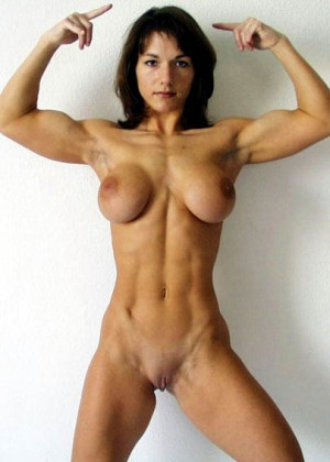 Naked bodies of muscular women