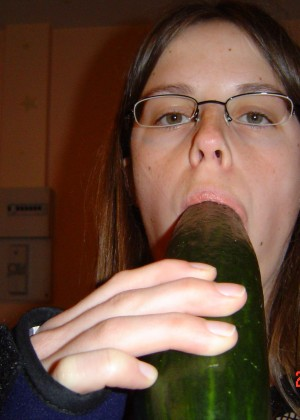 Girl and cucumber